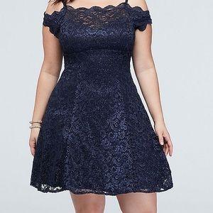 A navy blue dress